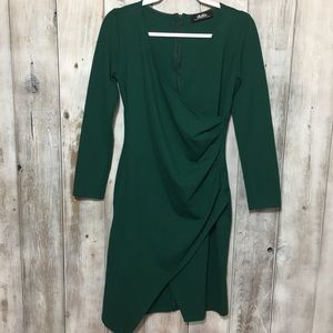 LuLus Green Faux Wrap Stretchy Dress XL Holiday